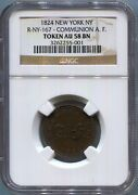 New York New York - 1824 A. F. Communion Token Ngc Au 58 Bn Rrr