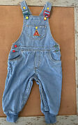 Vintage 90's Kids Boys Gymboree Overall Pants Primary Color Buttons Snaps S 3-4