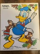 Vtg Playskool Disney Donald Duck And Chip-n-dale Wood 8pc Puzzle