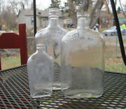 3- Antique Glass Whiskey Bottles And Flask 2-embossed Taylor And Williams, Etc.