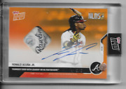 2020 Topps Now 369e Ronald Acuna Jr. Auto Ball Relic [rawlings Logo] And039d 5/5