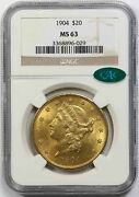 1904 20 Ngc/cac Ms 63 Liberty Head Gold Double Eagle
