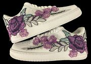 🌹 Nike Air Force 1 07 Low Purple Rose Flower Floral White Custom Shoes All Size