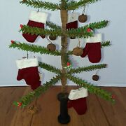 Primitive Christmas Faux German Feather Tree With Pips And Red Mitten Ornies