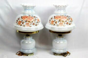 Set Of 2 Vintage Gwtw Parlor Table Lamps Floral Milk Glass 1-way Electric 23