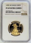 1995 W Gold Proof American Eagle 25 Coin 1/2 Oz Ngc Pf 69 Uc