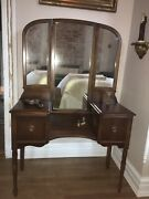 Antique Wooden Vanity Dressing Table Tri - Fold Mirror