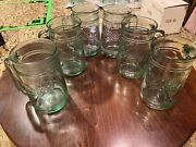 6 Rare Vintage Coca-cola Coke Green Heavy Glass Embossed Mugs With Handles
