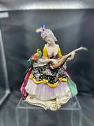 Volkstedt Dresden Porcelain Figurine Lady With A Parrot And Mandolin