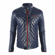 Menand039s Quilted Classic Cafe Racer Motorcycle Biker Real Sheepskin Leather Jacket