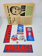 George Wallace Campaign Lot Stickers Pamphlets Tie Tack Win With Button Pin Rare