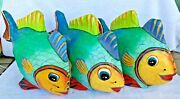 Set Of 3 Very Large Paper Mache Fish Rare From The 80s