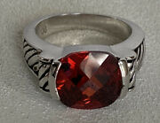 Lia Sophia Lisa Ring Size 9 Red Stone Black Etched Side Silvertone Very Rare Htf