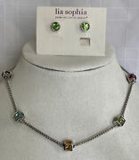 """Lia Sophia Kiam Family Lisa Necklace 16-19"""" Colorful Cubes Silvertone And August"""