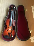 Miniature 8 Wood Violin And Bow Instrument In Case