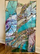 Stained Glass Contemporary Abstract Panel Suncatcher Window Transom