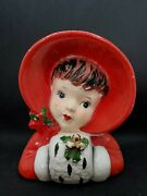 Vintage Rubens Christmas Shopping Girl With Muff Head Vase Planter Japan