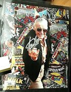 Rare Vintage Stan Lee Hand Signed Comic Book Collage W/ Proof Coa