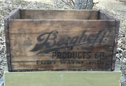 Vtg 1920s Berghoff Products Beer Wood Crate Case Fort Wayne In Prohibition Era