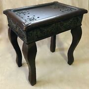 Antique Castilian Leather And Embossed Metal Accent Table