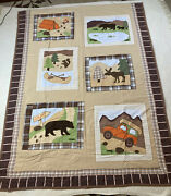 Woolrich Twin Brown Patch Quilt- Big Bear, Camping,jeep, Outdoors, Moose