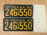 Vintage 1940 Texas Tx. Cm Truck License Plate Set Never Mounted