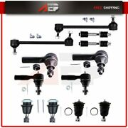 Complete 12pcs Front + Rear Sway Bars Outer Tie Rods Upper Lower Ball Joints Kit