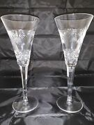 Set Of 2 Waterford Crystal Millennium Collection Peace Toasting Flutes 9.25