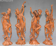 14china Boxwood Wood Carving 4 Beauty Belle Girl Musical Instruments Statue Set
