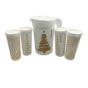 Tupperware 2 Qt Pitcher And Tumbler Cups Gold And White Christmas Tree