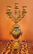 Vintage Italian Brevettato Baroque Brass Candelabra Green Marble And Lions, Signed