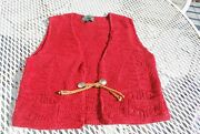 Vintage Polo Country Vest Southwestern Indian Concho Button Red