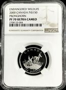 2000 Platinum Canada 599 Minted 150 Pronghorn Coin Ngc Proof 70 Ultra Cameo