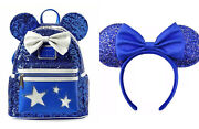 Disney Loungefly Wishes Backpack And Ears Headband Blue Sequin Make A Wish Mickey