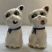"""Ceramic Dog Salt And Pepper Shakers 2 3/4""""vgt Wear Used Lots Glaze Chipping Off"""
