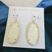 Authentic New Kendra Scott Elle Gold Earrings Ivory Mother-of-pearl