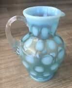 """Fenton Blue Opalescent Coin Dot Handled Large Creamer/small Pitcher 5.75"""""""