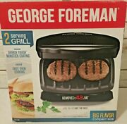 George Foreman 2 Serving Electric Indoor Grill Gr10b W/ Drip Tray Non-stick