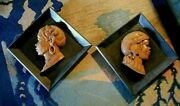 Pair Mexican Ethnic Profiles Bas Relief Wood Carvings Framed 14 1/8 X 14 1/8
