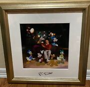 Disney Animation Cel Signed Roy Disney And Friends Mickey Mouse Rare Limited Ed