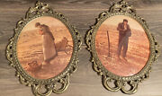 Pair Of Vintage Metal Brass Ornate Picture Frames With Convex Bubble Glass