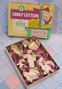 Vtg Easter Metal Cookie Cutters 6pc Box Set Cooky Rabbits Chick Bird Cross Duck