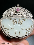 Ancient China Silver Set Nephrite Hand Carving Butterfly Pattern Pendant
