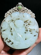 China Antique Silver Set Nephrite Hand Carving Childrenand039s Grain Pendant