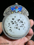 3.3 China Sterling Silver Mosaic Hetian Jade Hollow Out Rabbit Pattern Pendant