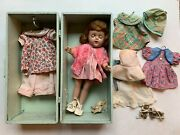 Antique Vintage Composition Doll With Trunk And Clothes Outfits 13