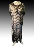 1920s Net Lace Great Gatsby Beaded Cocktail Gown Flapper Dress True Antique S-m