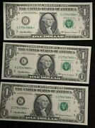 1999 1and039s Many Errors Three Notes Consec Serial And039s Error Notes Uncirculated
