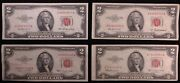 1953 2 Dollar Bill Red Seal 4 Notes 1953 And A B C No Holes Tears Stains Or Writin
