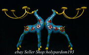 16.4 Chinese Bronze Cloisonne Gilt Fengshui Deer Candle Stick Statue Pair
